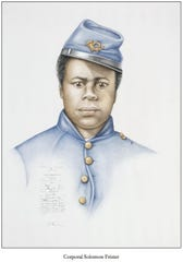 "Solomon Frister served in the United States Colored Troops. After the Civil War, he eventually made his way to Tennessee. He is believed to be buried in Nashville's Mount Ararat Cemetery, the first African American cemetery in Middle Tennessee. His portrait, created by artist Shayne Davidson, is part of the exhibit ""Seventeen Men: Portraits of Black Civil War Soldiers."""