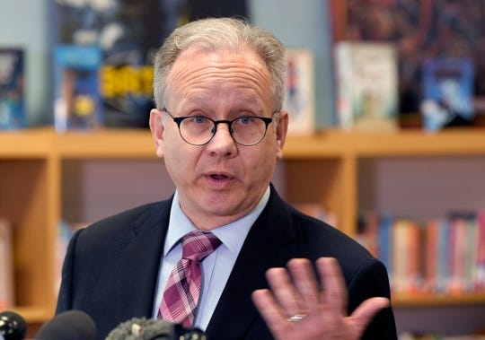 Mayor David Briley holds a news conference Friday, March 29, 2019, at Napier Elementary School to address the turmoil on the Metro school board.