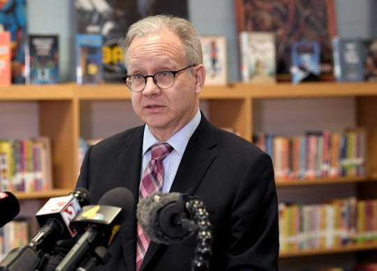 Mayor David Briley holds a news conference Friday, March 29, 2019, at Napier Elementary School to address school board turmoil.