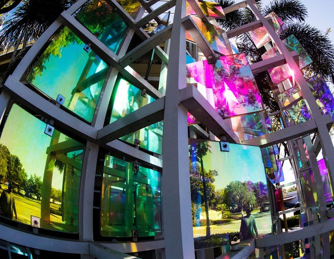 "Daily life is reflected in an installation by Mark Fuller called ""Cambier's Quilt"" in downtown Naples on Friday, March 29, 2019,  part of the city's public art collection  that its public art plan hopes to protect."