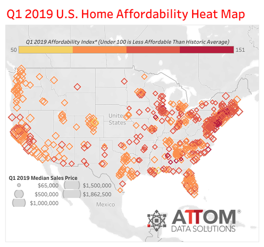 Heat map for home affordability in Quarter 1 2019.