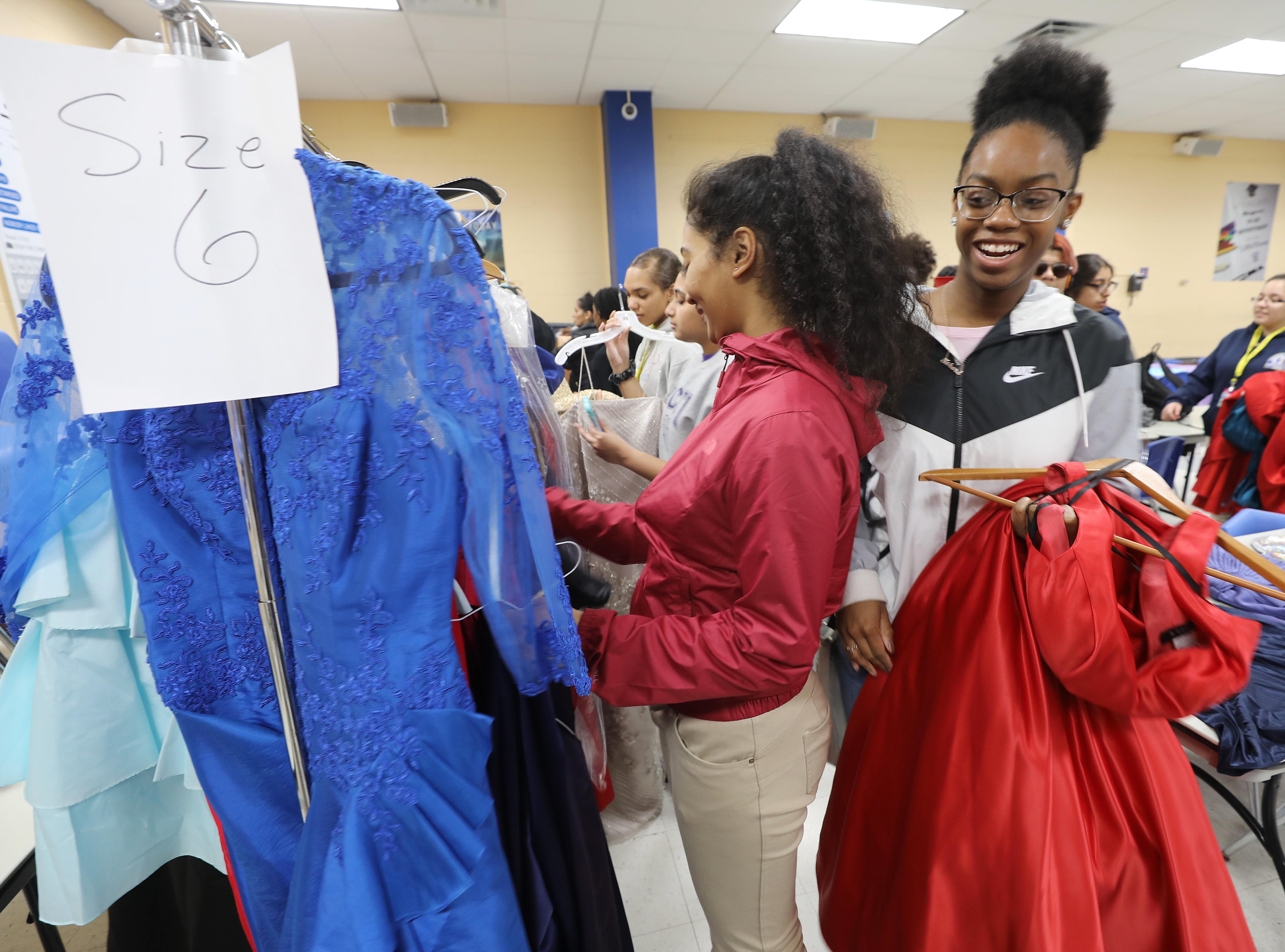 Looking for a dress at the annual Prom Gown Giveaway held at Passaic County Technical Institute.