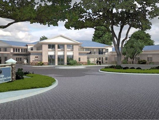 A rendering of a proposed addition to the Dellridge Health & Rehabilitation Center in Paramus.