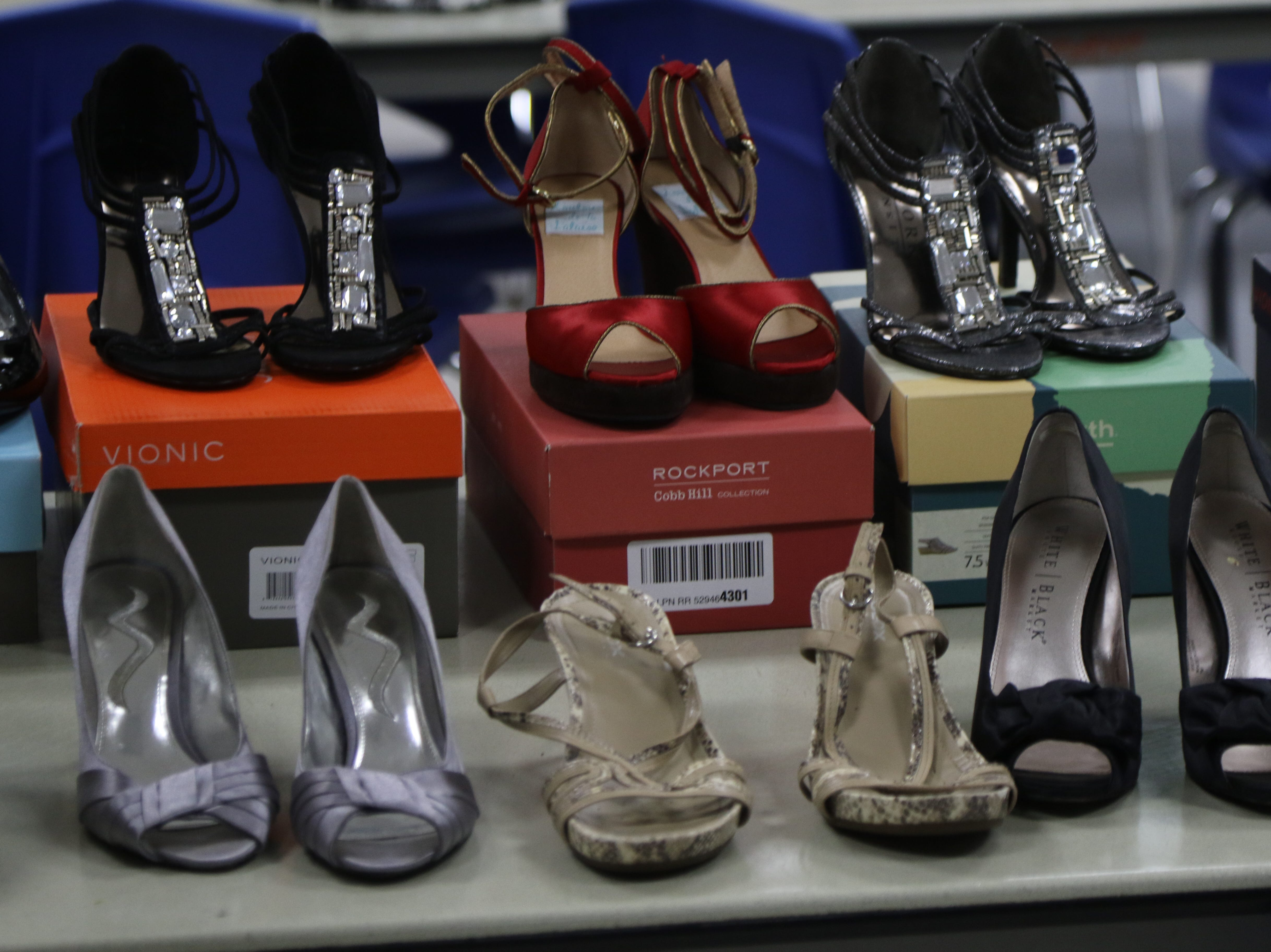 Shoes, jewelry and cosmetics packages from Mary Kay were donated along with prom gowns for the annual Prom Gown Giveaway held at Passaic County Technical Institute in Wayne on March 29, 2019.