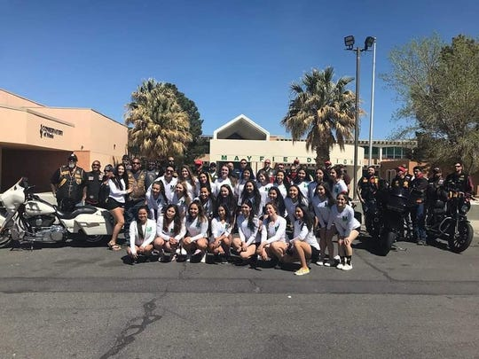 Mayfield High School Cheerleaders as they depart for Albuquerque for their state competition Thursday, April 4.