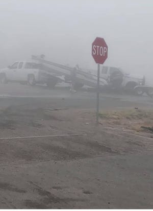 A boat was apparently jarred from a pick up truck during a five-vehicle crash March 29 near Artesia. Eddy County Sheriff's Office spokesperson Capt. Matt Hutchinson said fog was the contributing cause.