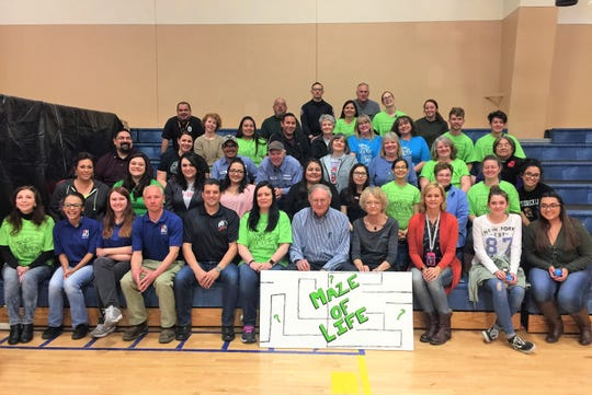 Teachers, staff, community members,a organizations participated in the 2019 Maze for Life raising awareness for the youth about making  good choices for life.