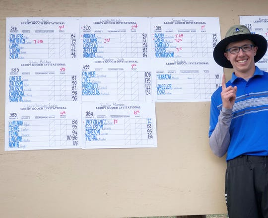 Jake Butkiewicz signals his first place win in the Leroy Gooch Inivitational Golf Tournament.
