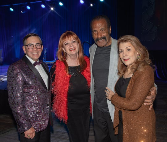 From left, Palm Springs Mayor Robert Moon, TV and radio personality Joey English, actor Fred Williamson, and contractor Linda Williamson