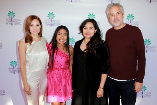 """Lili Rodriguez (second from right), shown with members of the Oscar-winning film, """"Roma,"""" at the January Palm Springs International Film Festival, has been named festival artistic director. With her are (from left) stars Marina de Tavira and Yalitza Aparicio, and director Alfonso Cuarón. Rodriguez moderated a panel discussion with them at the festival."""