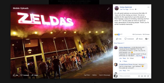 A screenshot of Zelda's Facebook post Thursday night announcing that after 43 years it would close its doors.