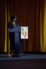 Lili Rodriguez, shown at the podium of a Palm Springs International ShortFest event, will direct the June 18-24 ShortFest at artistic director of the Palm Springs International Film Society.