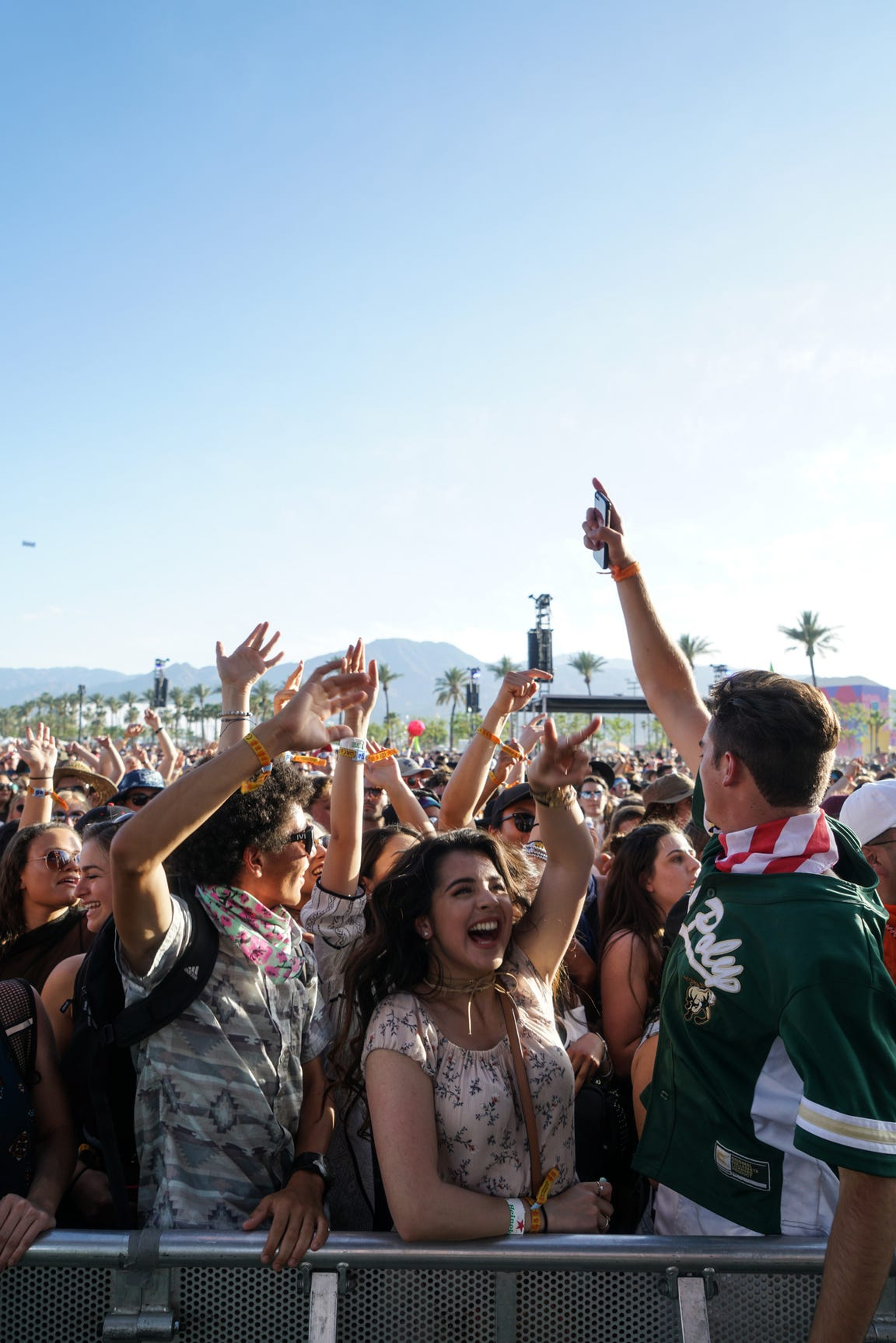 A crowd dances to Bastille during the Coachella Valley Music and Arts Festival at the Empire Polo Club, Indio, Calif., April 17, 2017.