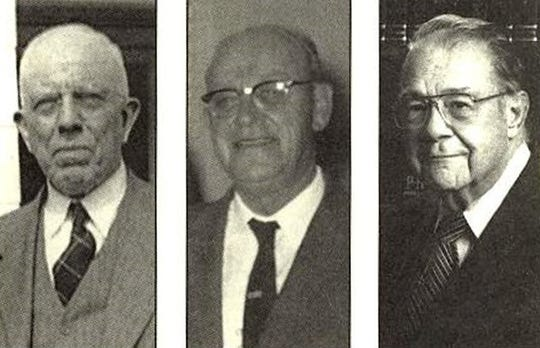 From left, Thomas Saltmarsh, Harold Cleaveland and Charles Gund are pictured. The three men founded Pensacola CPA firm Saltmarsh, Cleaveland & Gund.
