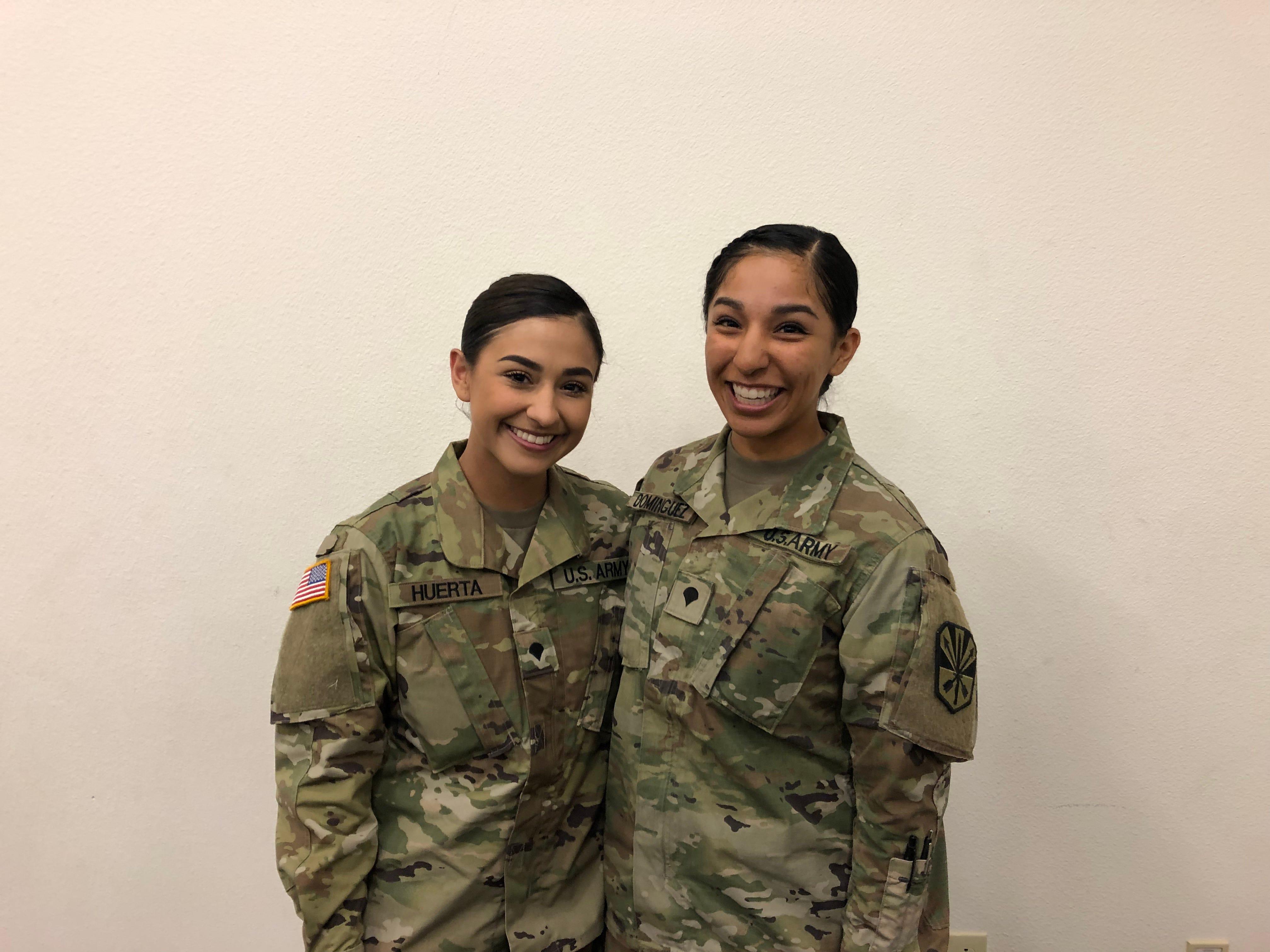 Spc. Kayla Huerta, 21, and Spc. Ana Dominquez, 24.