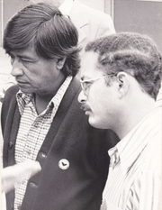 Cesar Chavez and Marc Grossman in a 1970s photo.