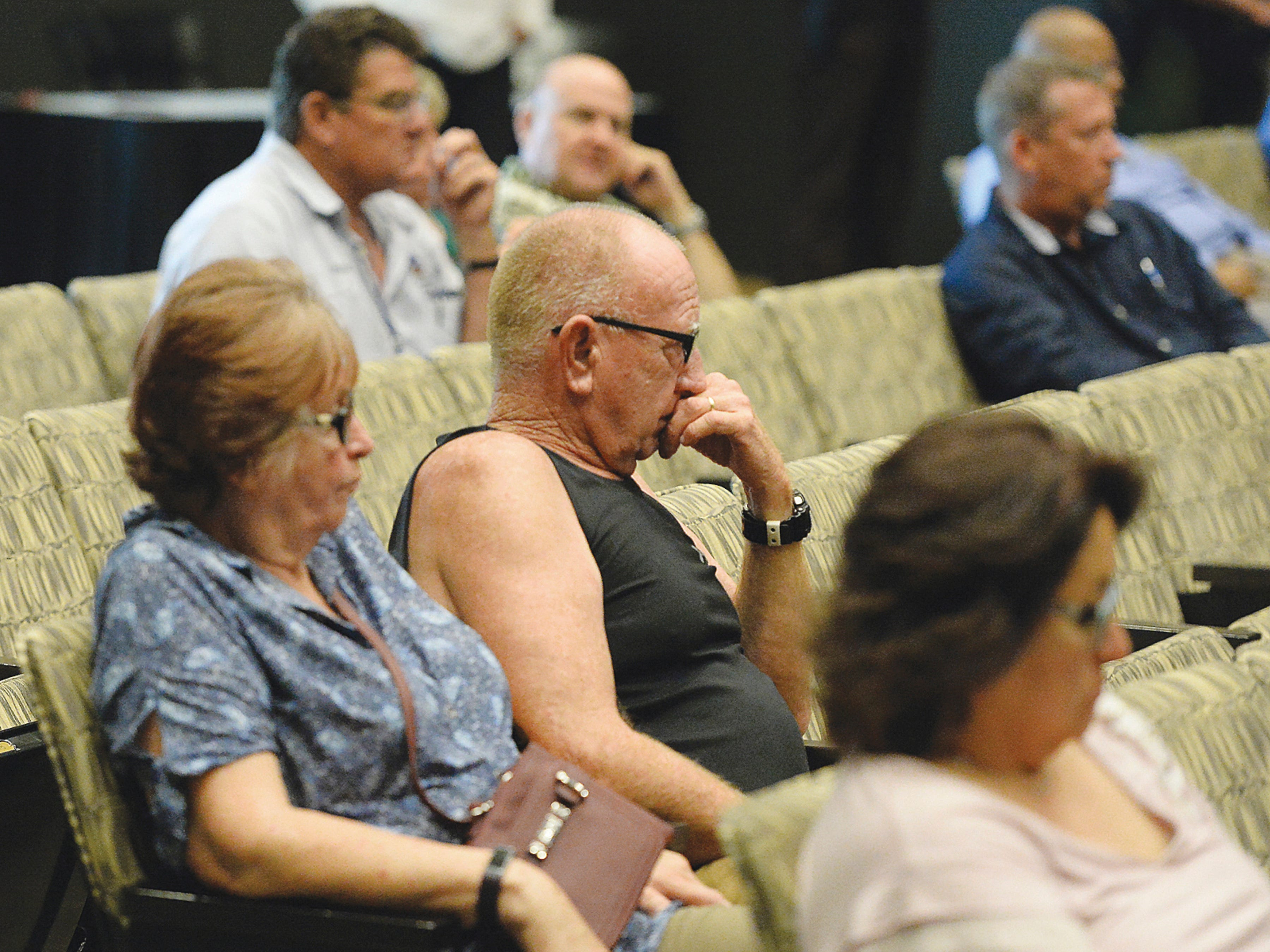 Members of the audience listen to Yuma Mayor Doug Nicholls' news conference about the current humanitarian crisis in the border region due to high volumes of illegal migrant crossings on  March 28, 2019, in Yuma.