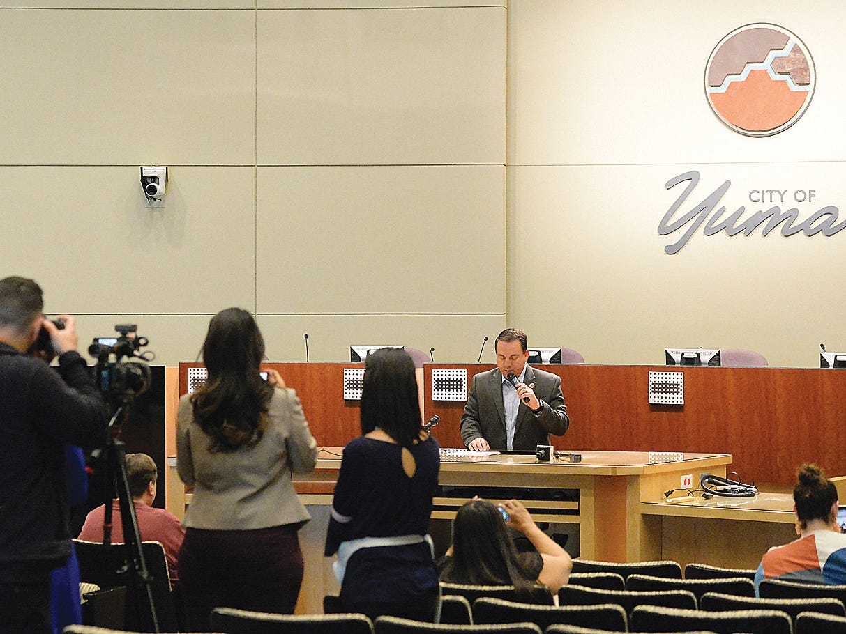 Yuma Mayor Doug Nicholls speaks to the media and audience during a news conference inside Yuma City Council Chambers about the current humanitarian crisis in the border region due to high volumes of illegal migrant crossings on March 28, 2019, in Yuma. Nicholls said the city is working with various non-governmental organizations to make sure the families have temporary housing, food, medical care and help with travel to their intended destinations.