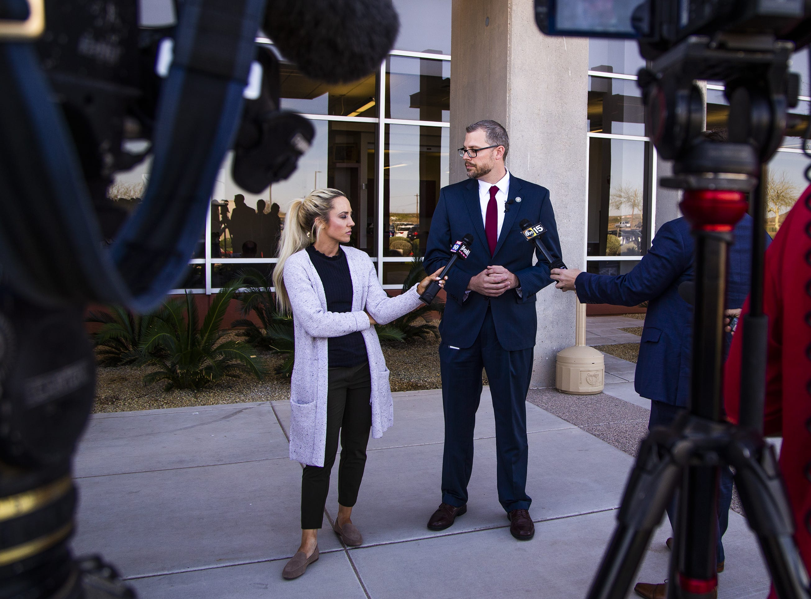Pinal County Attorney Kent Volkmer speaks to the media outside Pinal County Superior Court in Florence on March 29, 2019.