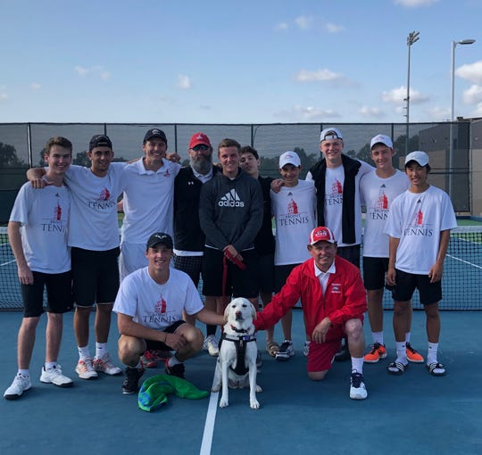 Phoenix Brophy Prep boys tennis team stands with coach Eric Chalmers (top row, third from left)