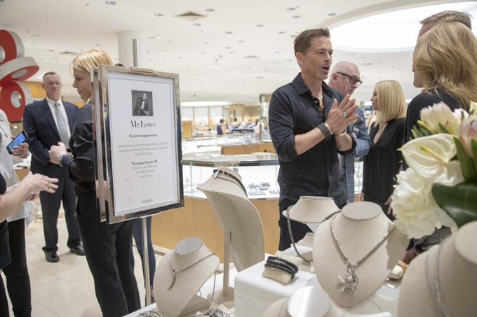 Actor Rob Lowe, on right and his jewelry-designer wife Sheryl Lowe, on left, introduce their new men's jewelry collection exclusively to Neiman Marcus at Scottsdale Fashion Square on March 28, 2019.