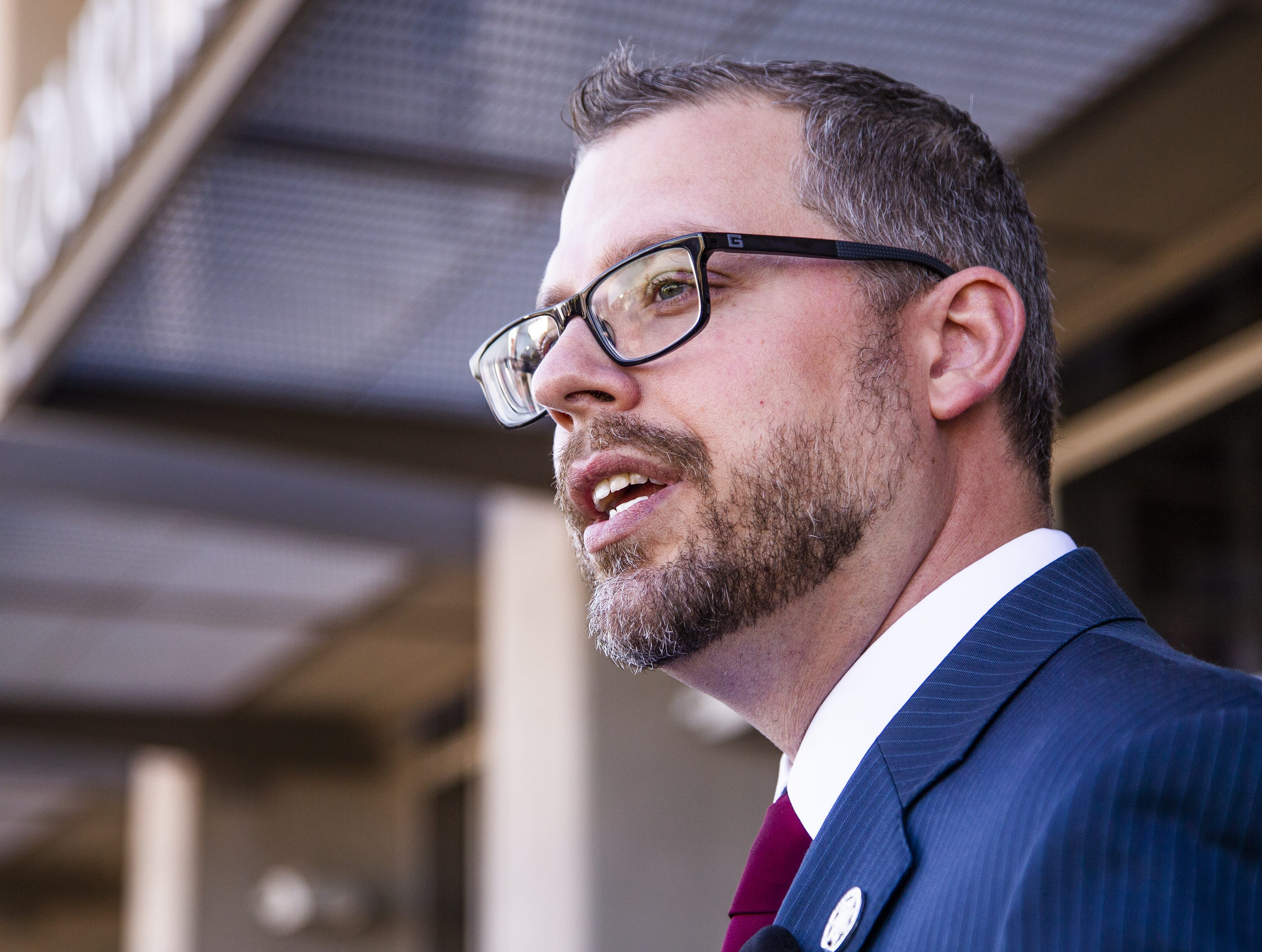 Pinal County Attorney Kent Volkmer speaks to the media outside the Pinal County Superior Court in Florence on March 29, 2019.