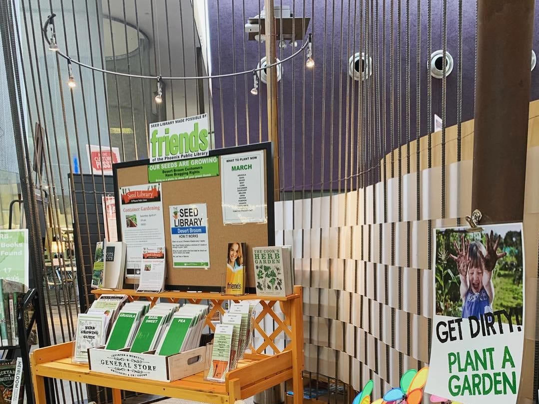 The Seed Library display at Phoenix's Desert Broom Library in March 2019.