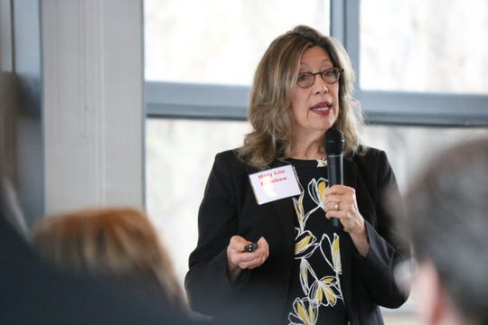 Mary Lou Renshaw, of the Indiana Department of Environmental Management, discusses that state's domestic action plan at the Lake Erie Waterkeeper's conference in Perrysburg on Friday.