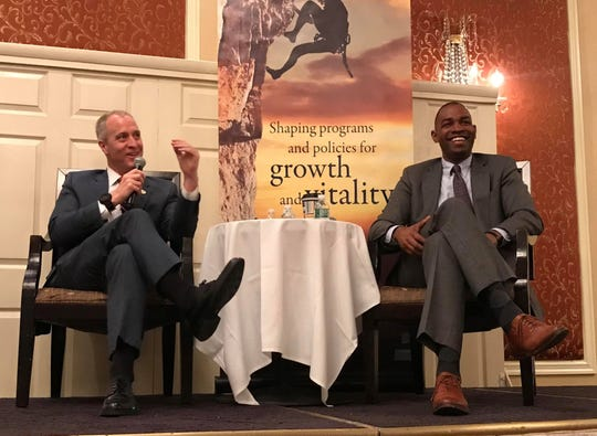 Rep. Sean Patrick Maloney and Rep. Antonio Delgado discuss issues facing the country on March 29 at the Poughkeepsie Grand in the City of Poughkeepsie.