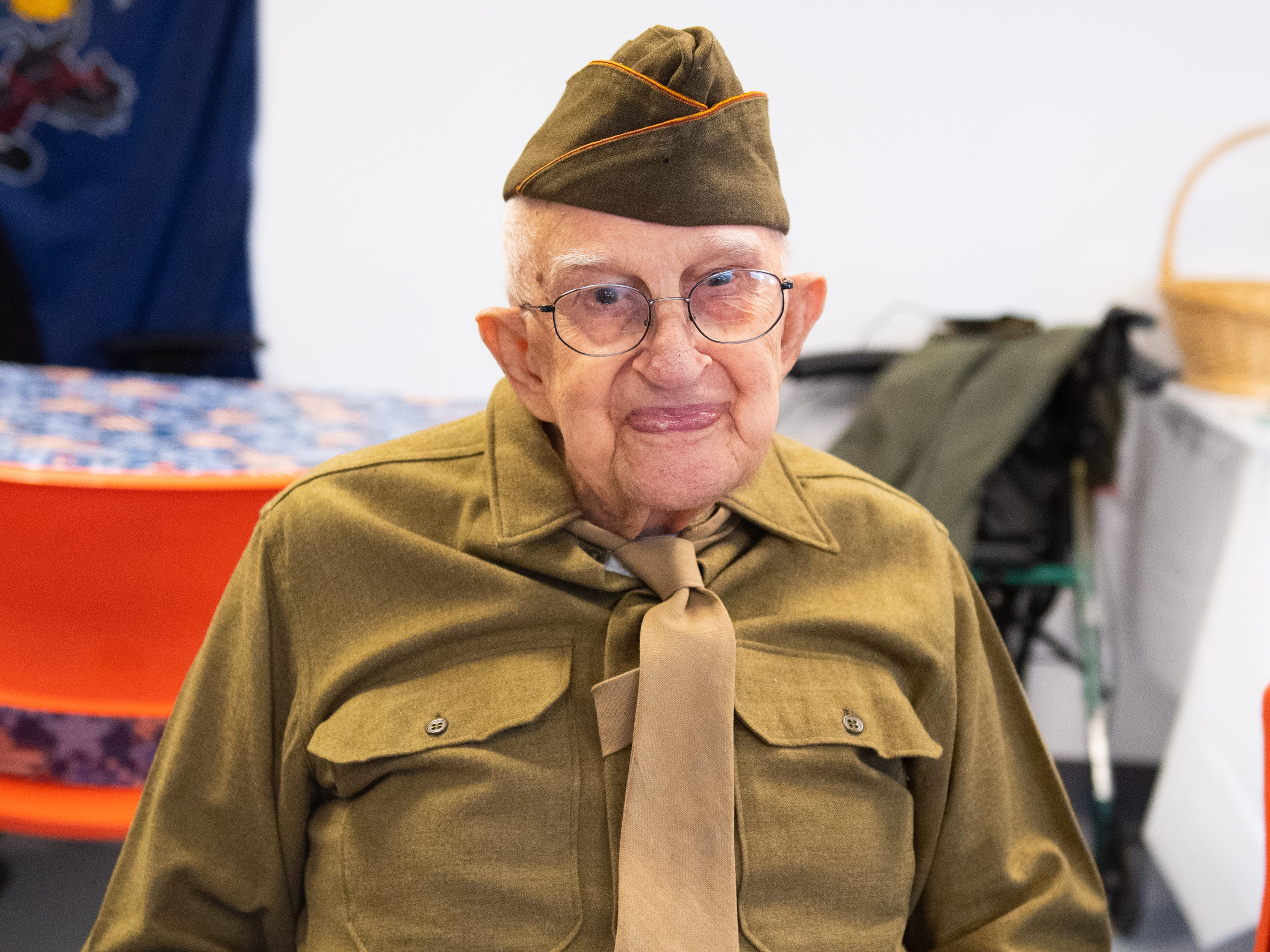 Robert Bush is the oldest veteran in attendance at 101 years old. He served in World War II and even fought in the Battle of the Bulge. He is wearing his military uniform with pride, March 29, 2019.