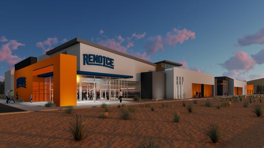 An artists rendering of the exterior of the proposed ice rink in south Reno