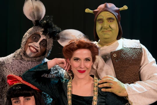 "Left to right: Blake Fisher, Rashod Holmes, Hillary Rogerson and Matt Goodman star in the Cascade Theatre production of ""Shrek: The Musical."" The play opens Friday."