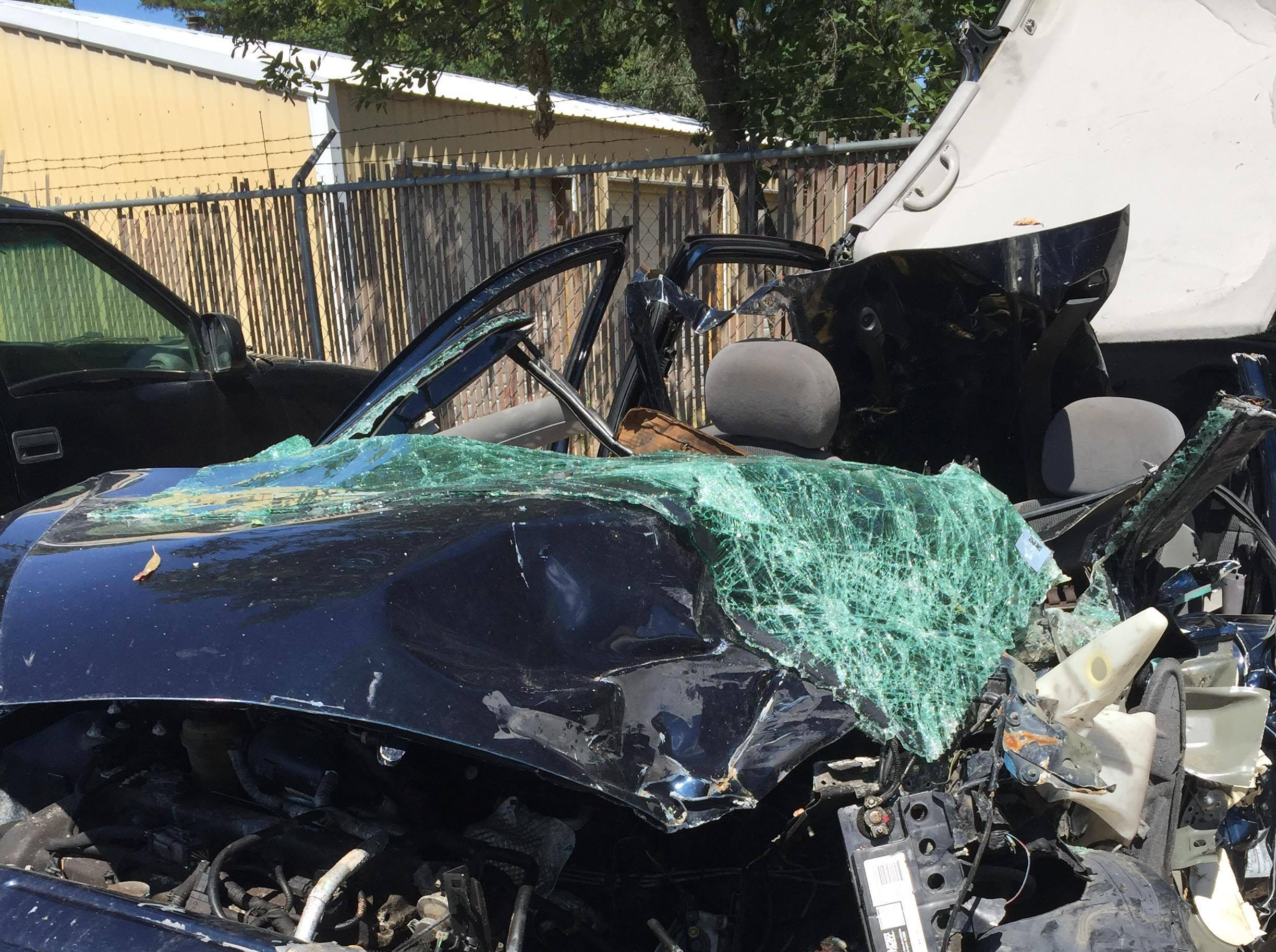 A look at the damage to Dani Gonzalez's car after the 2017 crash.
