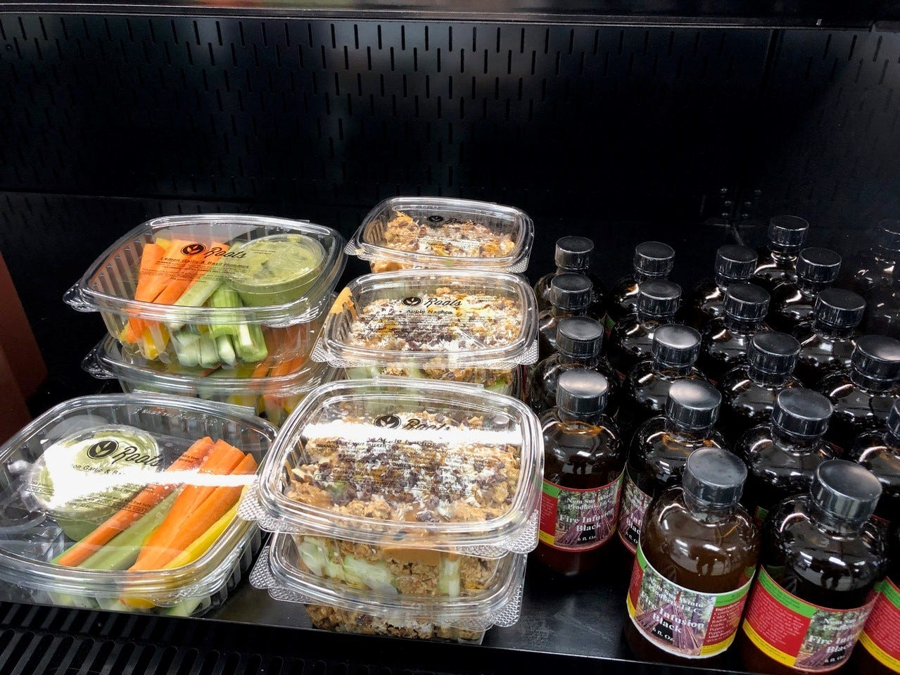 Some of the grab-and-go items at Roots Juice Bar on Pine Street.