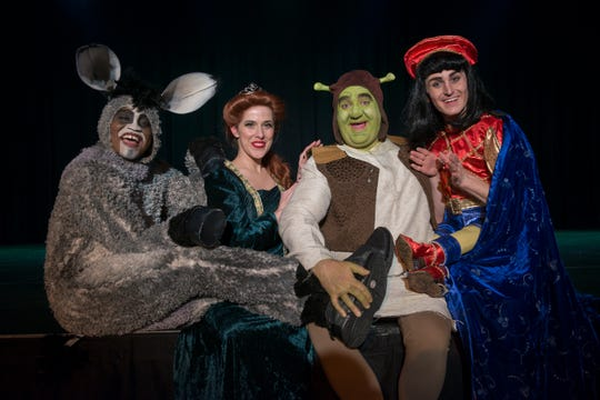 """'Shrek: The Musical' opens on Friday at the Cascade Theatre in Redding. Left to right: Donkey (Rashod Holmes), Princess Fiona (Hillary Rogerson), Shrek (Matt Goodman) and Lord Farquaad (Blake Fisher) lead the cast of """"Shrek: The Musical."""""""