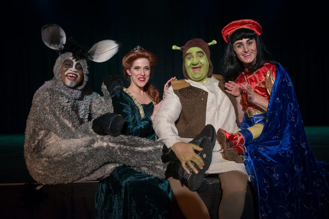 "'Shrek: The Musical' opens on Friday at the Cascade Theatre in Redding. Left to right: Donkey (Rashod Holmes), Princess Fiona (Hillary Rogerson), Shrek (Matt Goodman) and Lord Farquaad (Blake Fisher) lead the cast of ""Shrek: The Musical."""
