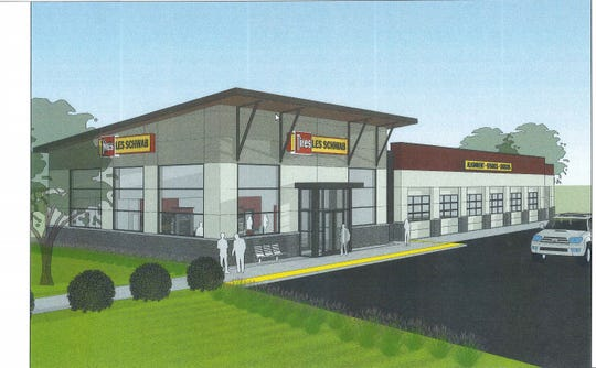 This is a rendering of the Les Schwab planned for Churn Creek MarketPlace.