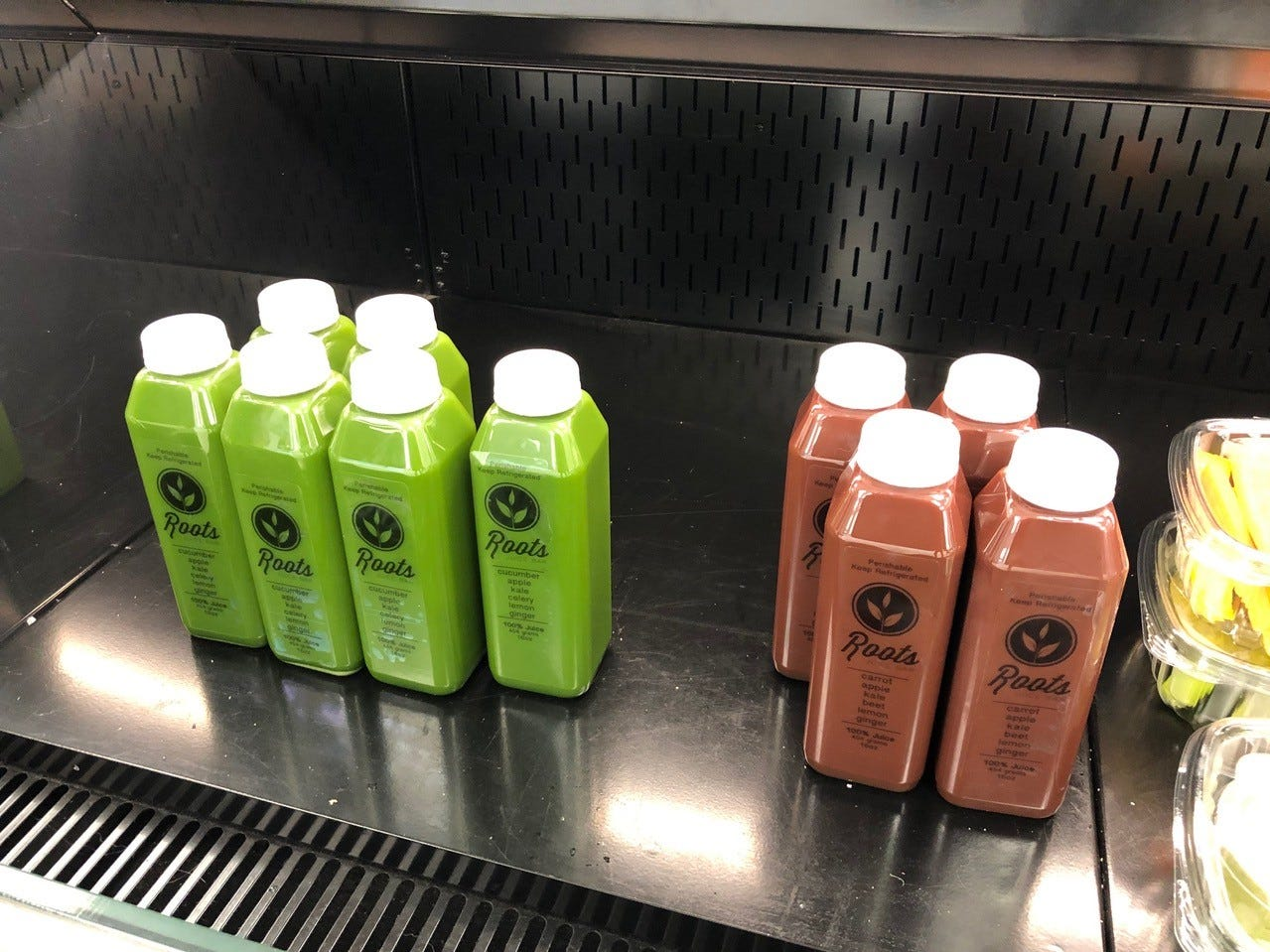 Ready-to-go juices at Roots Juice Bar's new location, on Pine