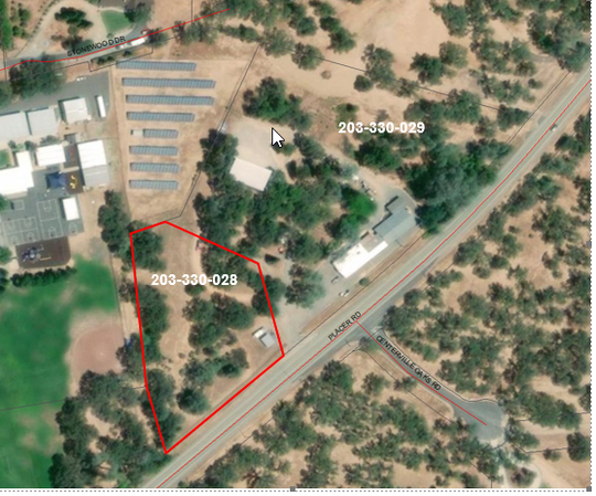 The parcel outlined in red shows where the Dollar General would be located on Placer Road west of Redding. Grant School is behind the proposed spot.