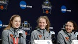 Oregon State women's basketball players Mikayla Pirec, Katie McWilliams and Destiny Slocum take questions from the media before Oregon State battles Louisville in the NCAA Sweet 16 in Albany, New York.