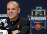 Oregon State women's basketball head coach Scott Rueck answers questions from the media during a press conference before Oregon State battles Louisville in the NCAA Sweet 16 in Albany, New York.