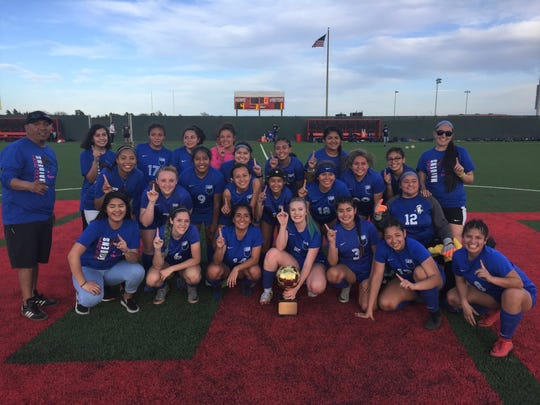The San Angelo Lake View girls soccer team poses with its 2019 Class 4A bidistrict playoff trophy after a 4-1 win over Borger Thursday in Lubbock.