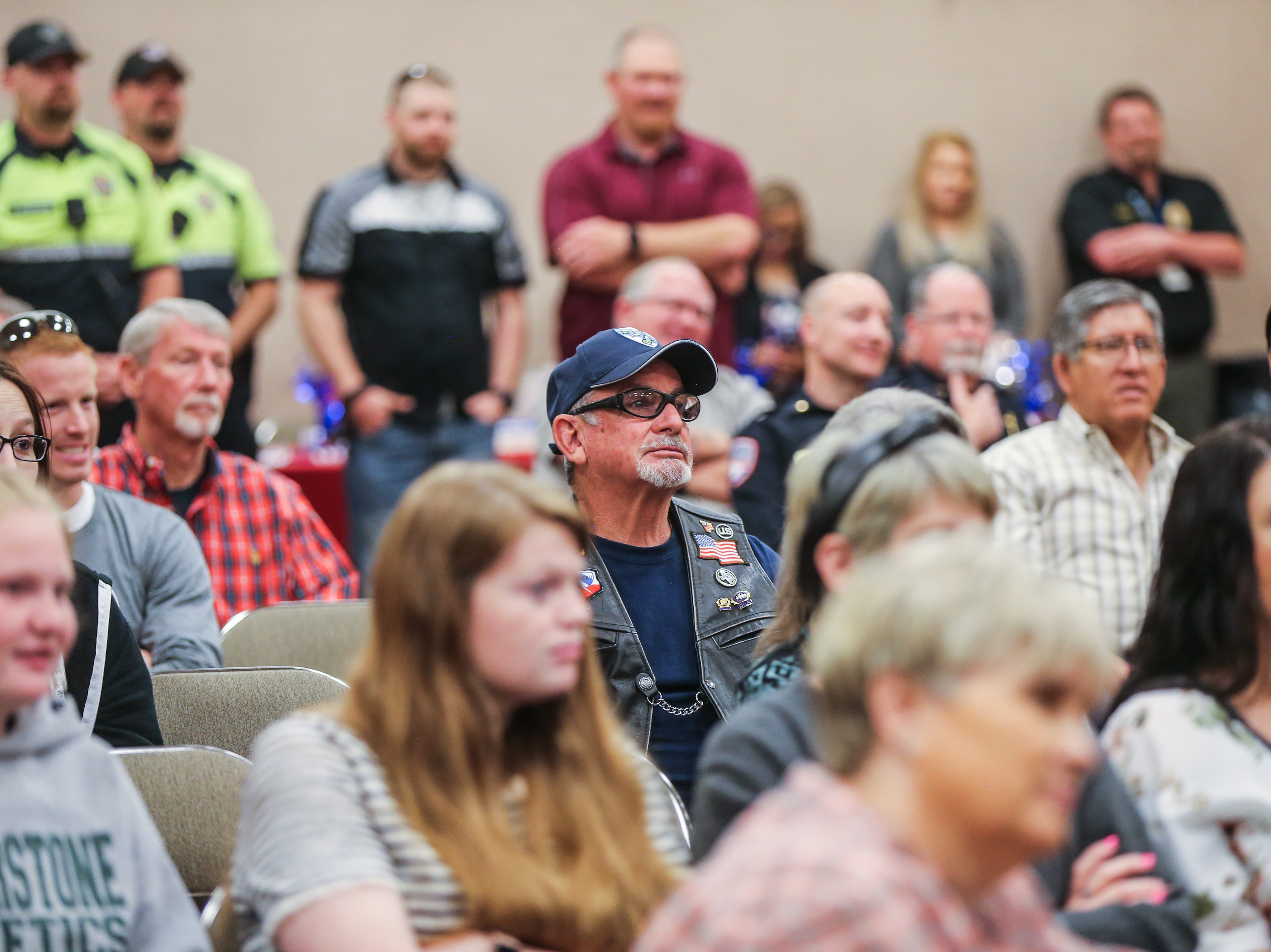 San Angelo police officers and other attendees fill the room for Officer Brian Bylsma's retirement ceremony Friday, March 29, 2019, at the McNease Convention Center.