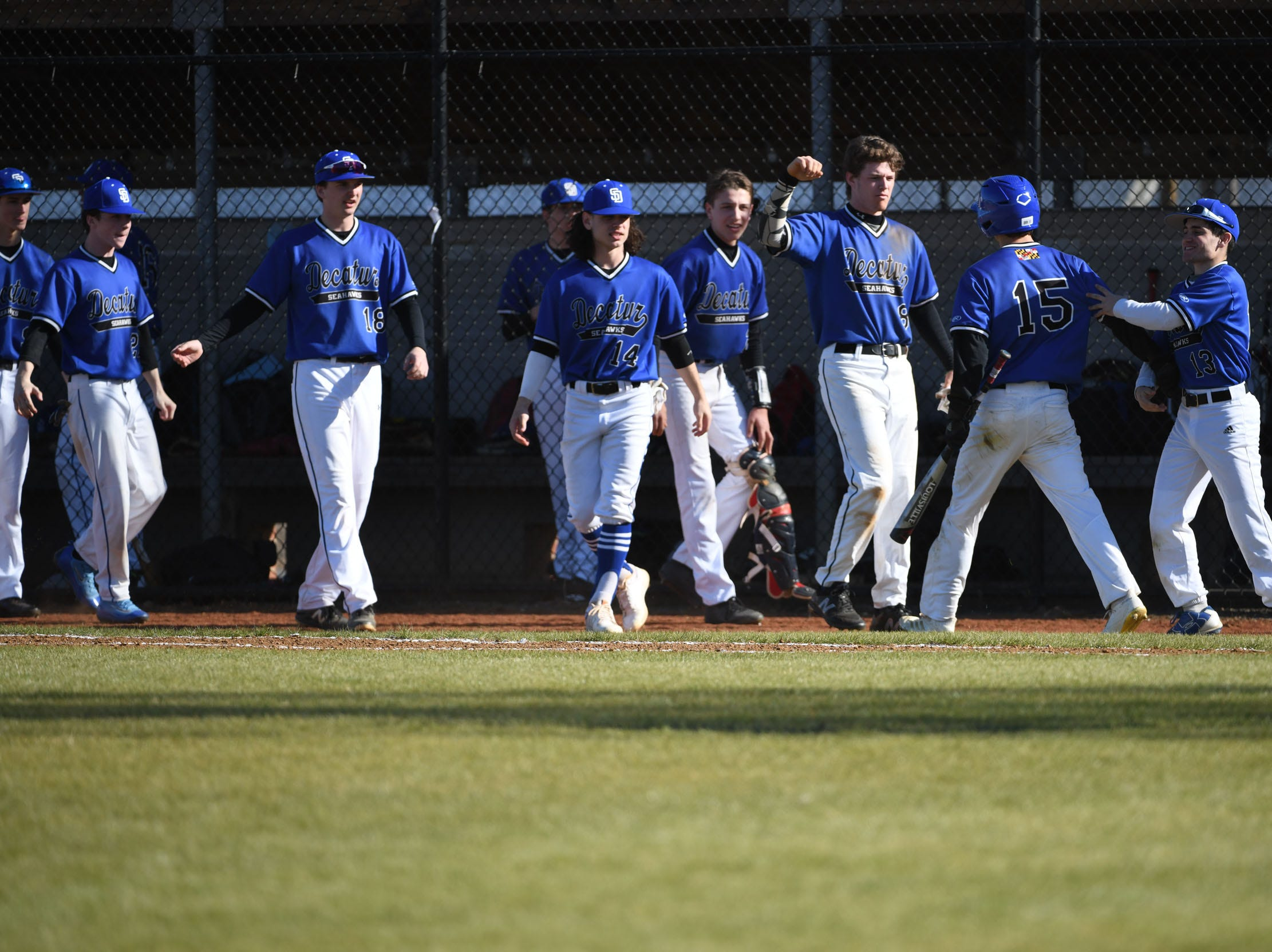 Stephen Decatur celebrates after scoring a run against Bennett on Thursday, March 28, 2019 in Salisbury, Md.