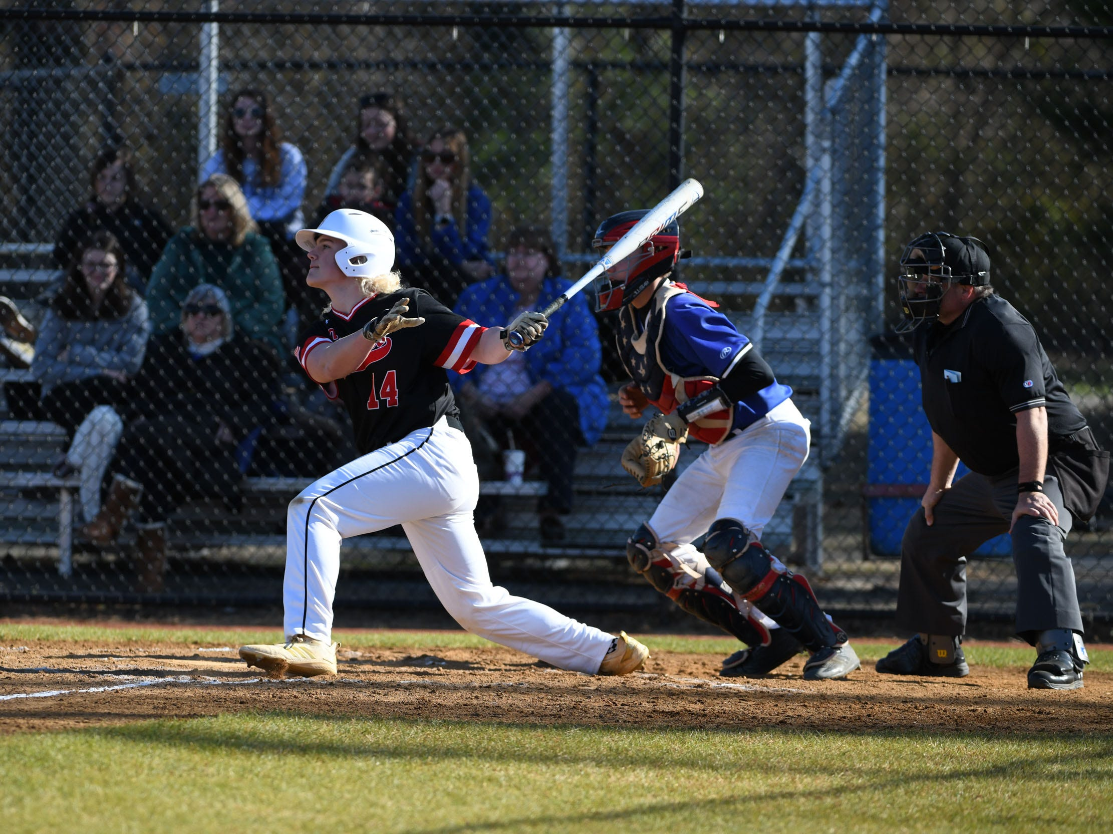 Bennett's Nathan Lewis at bat against Stephen Decatur on Thursday, March 28, 2019 in Salisbury, Md.