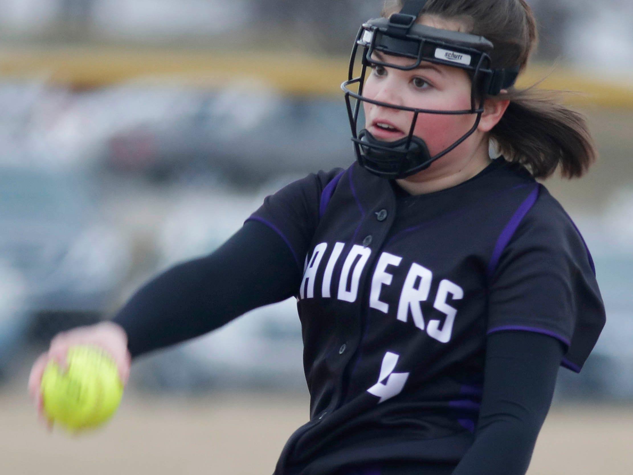 Kiel's Erin Swanson (4) winds up a pitch against Winnebago Lutheran, Thursday, March 28, 2019, in Fond du Lac, Wis.