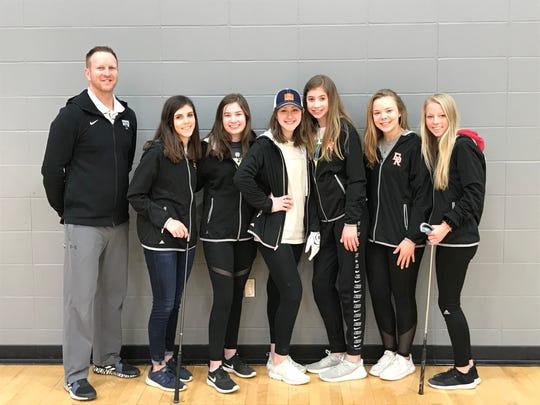 The 2019 Dell Rapids girls golf team (left-to-right): Coach Shannon Tjaden, Abigail Greenhoff, Sami Schmidt, Sydney Emery, Jayme Schmidt, Mallory Haak, Olivia Downs.