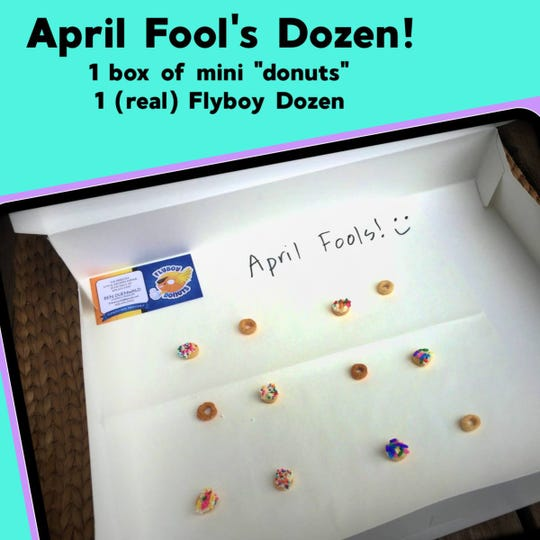 The April Fool's Dozen from Flyboy Donuts.