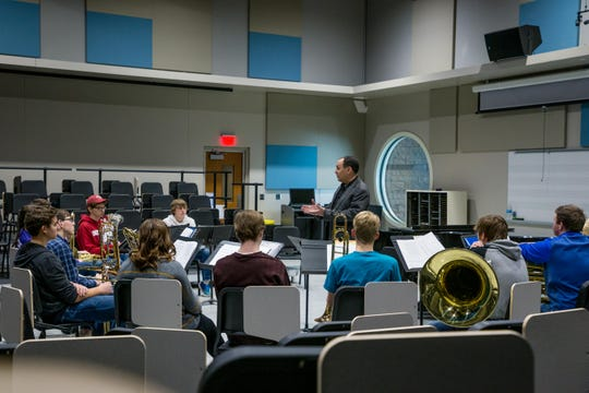 Inside the band practice room in the newly expanded Performing Arts Center at South Dakota State University in Brookings.