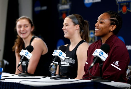 Missouri State Lady Bears Brice Calip (right), Danielle Gitzen (center) and Alexa Willard, laugh while taking questions during a press conference before a practice session at Wintrust Arena on Friday, March 29, 2019. The Lady Bears are playing Stanford in the NCAA Women's Tournament on Saturday.